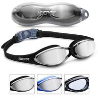 Swimming Goggles Anti Fog Crystal Vision UV Protection No Leaking Black and Blue