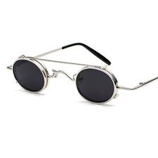 Men's Sunglasses Small Round Women Retro Metal Clip On Steam Punk Sun Glasses