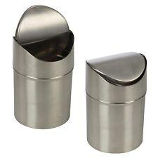 Stainless Steel 1.5L Small Recycling Bin Swing Lid Kitchen Waste Worktop Rubbish