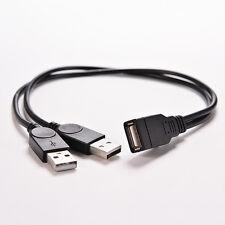 1x USB 2,0 una hembra a 2 doble USB macho Hub Power Adapter Y Cable SplitterH4