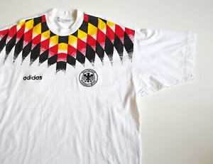 VINTAGE MEN'S GERMANY NATIONAL TEAM COTTON T-SHIRT JERSEY 1994-1996 WORLD CUP L