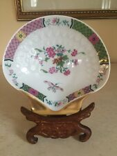 Limoges Porcelain A Vignaud Shell Dish Floral Sprays Butterfly Gold Trim France
