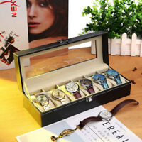 6 Slot Mens Women Watch Display Case Box Black PU Leather