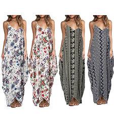 AU 6-18 Women V Neck Floral Printed Sleeveless Long Maxi Dress Beach Sundress