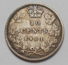 1901 Ten Cents VF ** Nice HIGH Grade Last Year Queen Victoria Silver Canada Dime