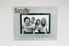 Luxury Frosted Glass / Special Topic Photo frame - 'Family' - 4x6 inch / 10x15cm
