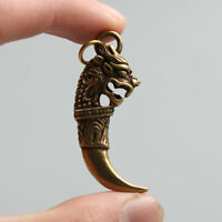 45MM Chinese Fengshui Bronze 12 Zodiac Animal Dragon Tooth Amulet Pendant Statue