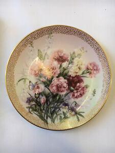 "Lena Liu Beautiful Decorative Plate ""Carnation Serenade"" Symphony of Shimmering"