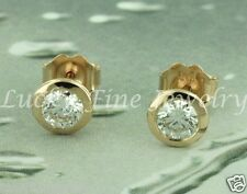 0.80 ct 14k Solid Rose Gold Natural Diamond Earring Bezel Stud Earrings made USA