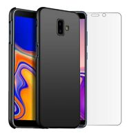 For Samsung Galaxy J6+ (Plus) Case Slim Hard Back Cover & Glass Screen Protector