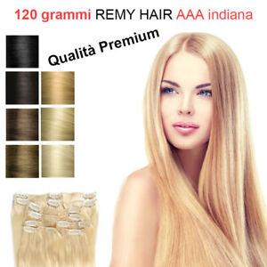 120 grammi capelli veri 7 FASCIA 16 CLIP Extension Remy SET ALLUNGAMENTO 46 CM