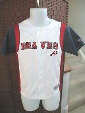 Vintage True Fan Atlanta Braves Button Front Baseball Jersey Youth Medium White