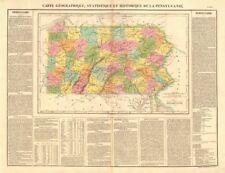 'pensylvanie' . mapa del estado de Pennsylvania. incluye la Cuña de Delaware. Buchon 1825