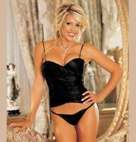 PLUS SIZE LINGERIE Size 38 or 40 Black Shiny Corset SOHX29059