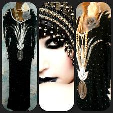 Vintage 20s Sequin originals 70s 80s Dynasty glam evening black bead dress 14