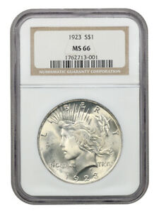 1923 $1 NGC MS66 - Lovely Golden Tinted Gem - Peace Silver Dollar