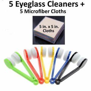 5 Pcs Sun Glasses Eyeglass Cleaner Microfiber Cloth Lens Wipes Cleaning Kit LOT