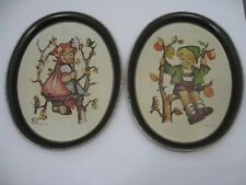 Hummel 1982 Ars Edition 2 Hand Painted Metal Tin Apple Tree Boy Girl Trays