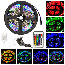 5M SMD 3528 RGB LED Strip light stripes flexible kit + power adapter + IR remote