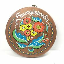 Vintage Swedish Smorgasbordet Wood Platter Wall Hanging Colorful Floral Print