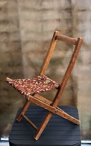 ANTIQUE VINTAGE WOODEN CHILDS DOLLS FOLDING CHAIR WITH CARPET SLING SEAT