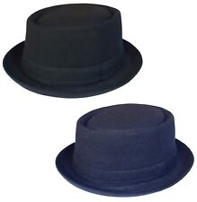 Mens or Womens Pork Pie Hat New Trilby Cap in Black or Navy Sizes: 55 - 61 cm