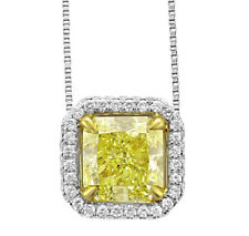 Fancy Yellow Cushion cut Diamond Ladies Pendant 3.10 CT GIA Certified 18k Gold