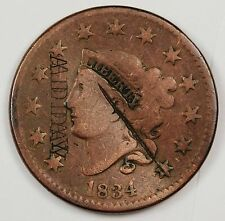 "1834 Large Cent.  Counter Stamped ""Adday"".   115489"