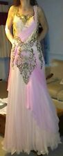 Wedding/Ball gown, floor length, pink/peach, gold trim bodice, size small/medium