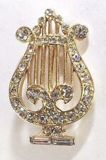 Brooch Pin - ORA - Lyre Music Instrument - Crystal White Rhinestones - Gold Tone