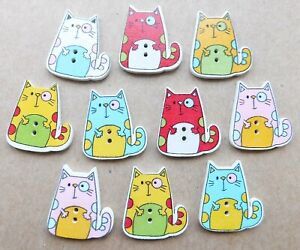 10 x CAT Buttons, Wooden, Mixed Colours, NEW, 2 holes, Craft, hobby, sewing, kid