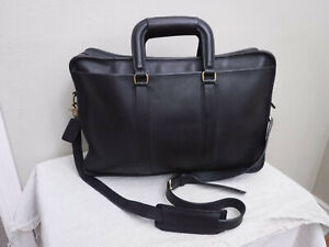 Vintage COACH Black Leather Briefcase Attache Carry All Business Portfolio Bag