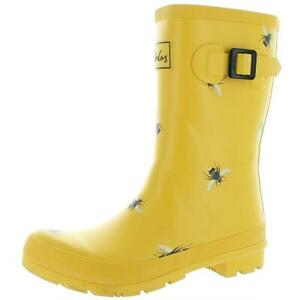 Joules Womens Molly Welly Yellow Rain Boots Shoes 8 Medium (B,M) BHFO 1500