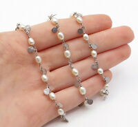 SILPADA 925 Silver - Vintage Freshwater Pearls Beaded Chain Necklace - N3211