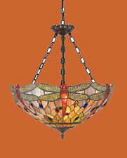Tiffany Style Stained Glass Dragonfly Hanging Ceiling Pendant Light Fixture Lamp