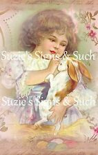 Fabric Block Vintage Altered Postcard Victorian Girl Easter Bunny Eggs