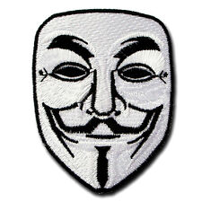 Vendetta Anonymous Guy Fawkes Mask Embroidered Patch Iron on Punk Harley Biker C