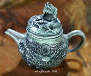 Chinese old Tibet silver Teapot  Hand Carved Dragon Playing bead w Xuande Mark z