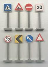 8 Lego Road Signs Lot: traffic city town street stop parking crossing LG poles