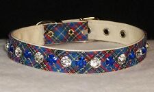 Deluxe Rhinestone Tartan Plaid Dog Collar Bling! Designer blue small pet 1/2""