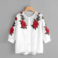 Fashion Women Autumn Long Sleeve T-Shirt Embroidered Shirt Casual Blouse Tops