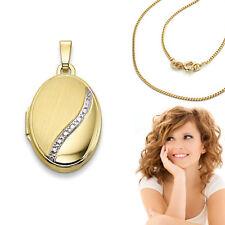 Medaillon Amulett Anhänger oval 2 Fotos Gelb Weiß Gold 333 mit Silber Kette verg