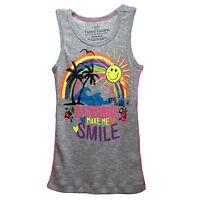 Faded Glory Girls Graphic Gray Ribbed Tank Top Shirt Rainbows Make Me Smile