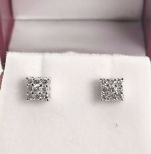Shiny Diamond Cluster Earrings 14K White Gold 0.39 Carat t.w. Made in The USA