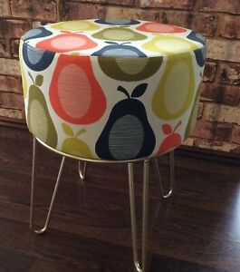 ORLA KIELY PEAR SCRIBBLE FABRIC COVERED FOOTSTOOL - GOLD HAIRPIN LEGS - NEW