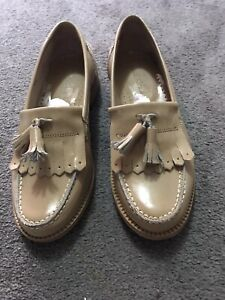 Patent Leather Beigh Russell And Bromley Loafers Size 3