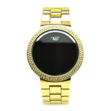 Touch Screen Digital Gold Plated Watches Techno Pave LED Metal Band WM 8165 G