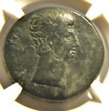Sestertius Augustus (Octavian) Victory Over Mark Antony & Cleopatra VII - NGC F