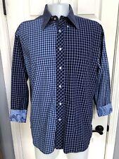 TOMMY HILFIGER Plaid 80's 2-Ply Cotton Button down Flip Cuff Paisley Shirt Sz XL