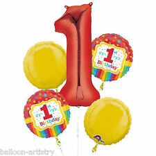 5 Piece Rainbow Colours Happy 1st Birthday Party Foil Balloon Bouquet Decoration